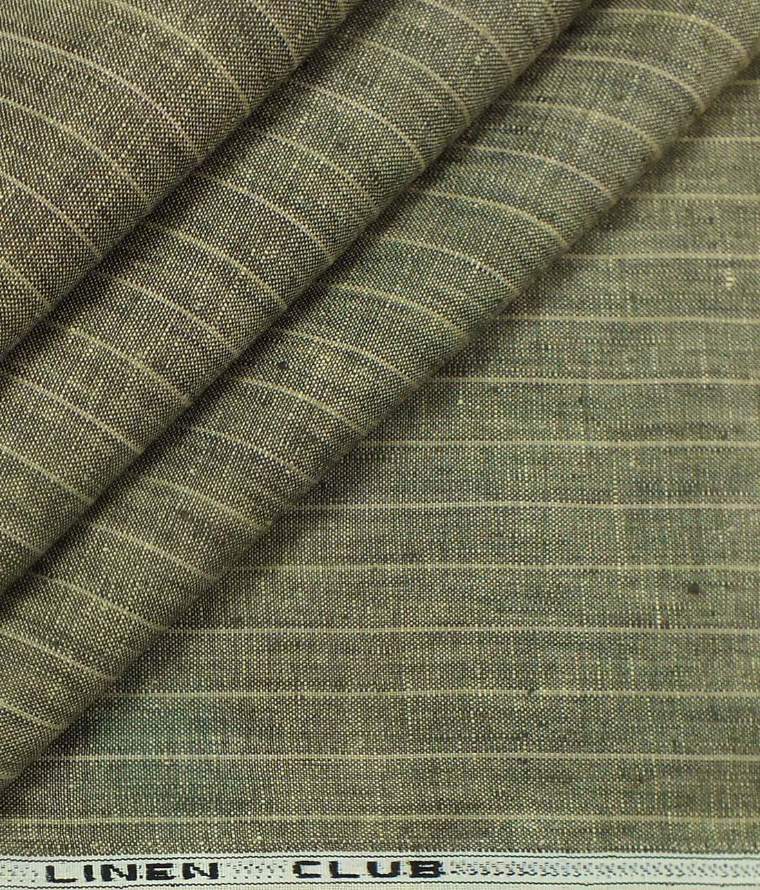 Linen Club By Aditya Birla Group Brown 100 Linen Striped