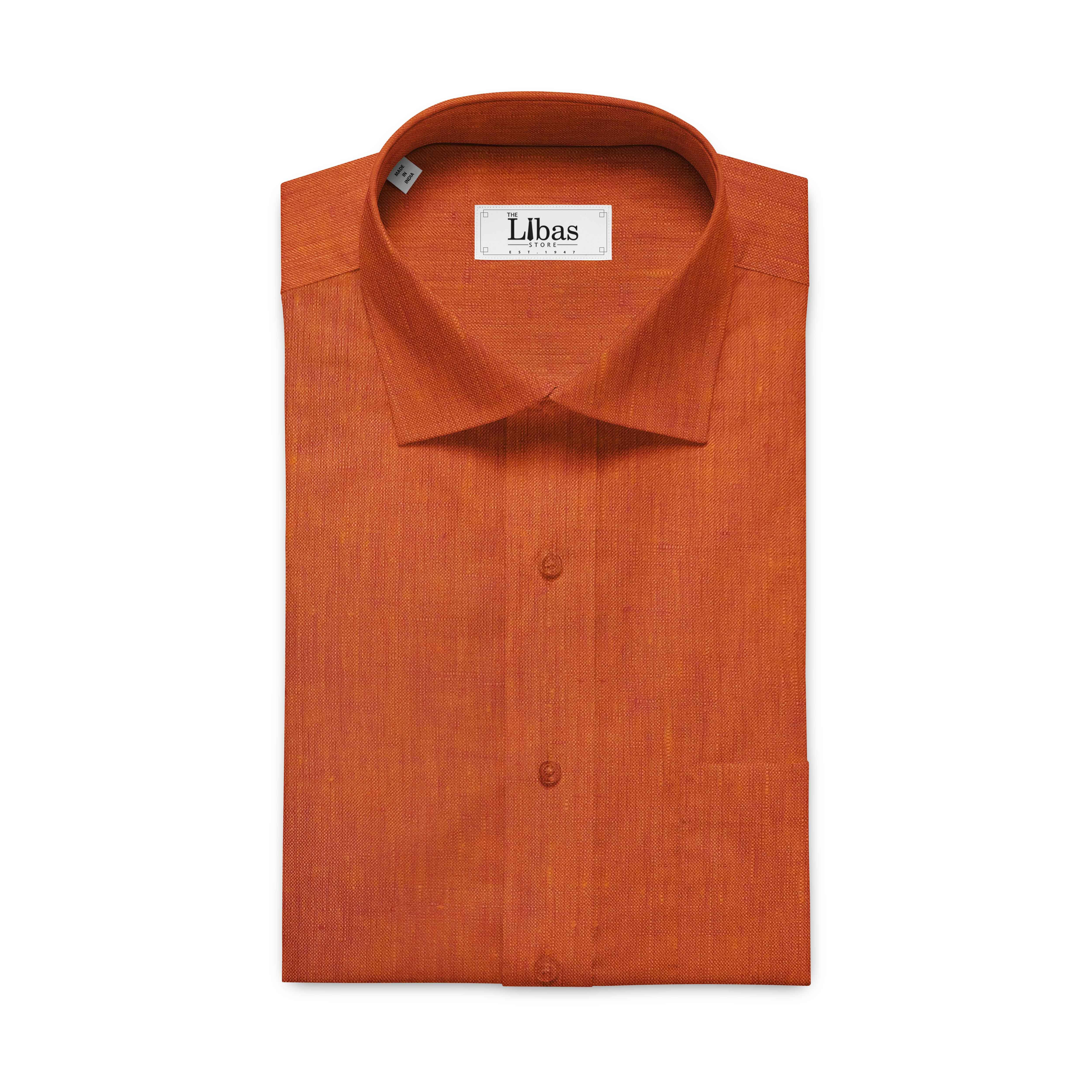 Linen Club Amber Orange 100 Pure Linen Shirt Fabric