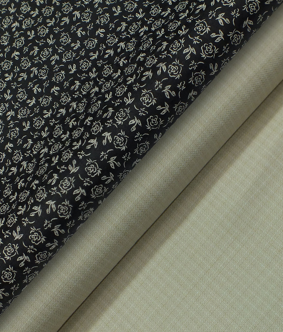 05592b754 Raymond Light Beige Self Design Trouser Fabric With Monza 100% Cotton Black  Printed Shirt Fabric (Unstitched)