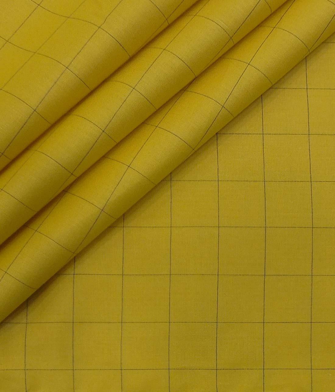 6f3454740f7 Monza Men's Yellow & Blue Broad Check Cotton Shirt Fabric