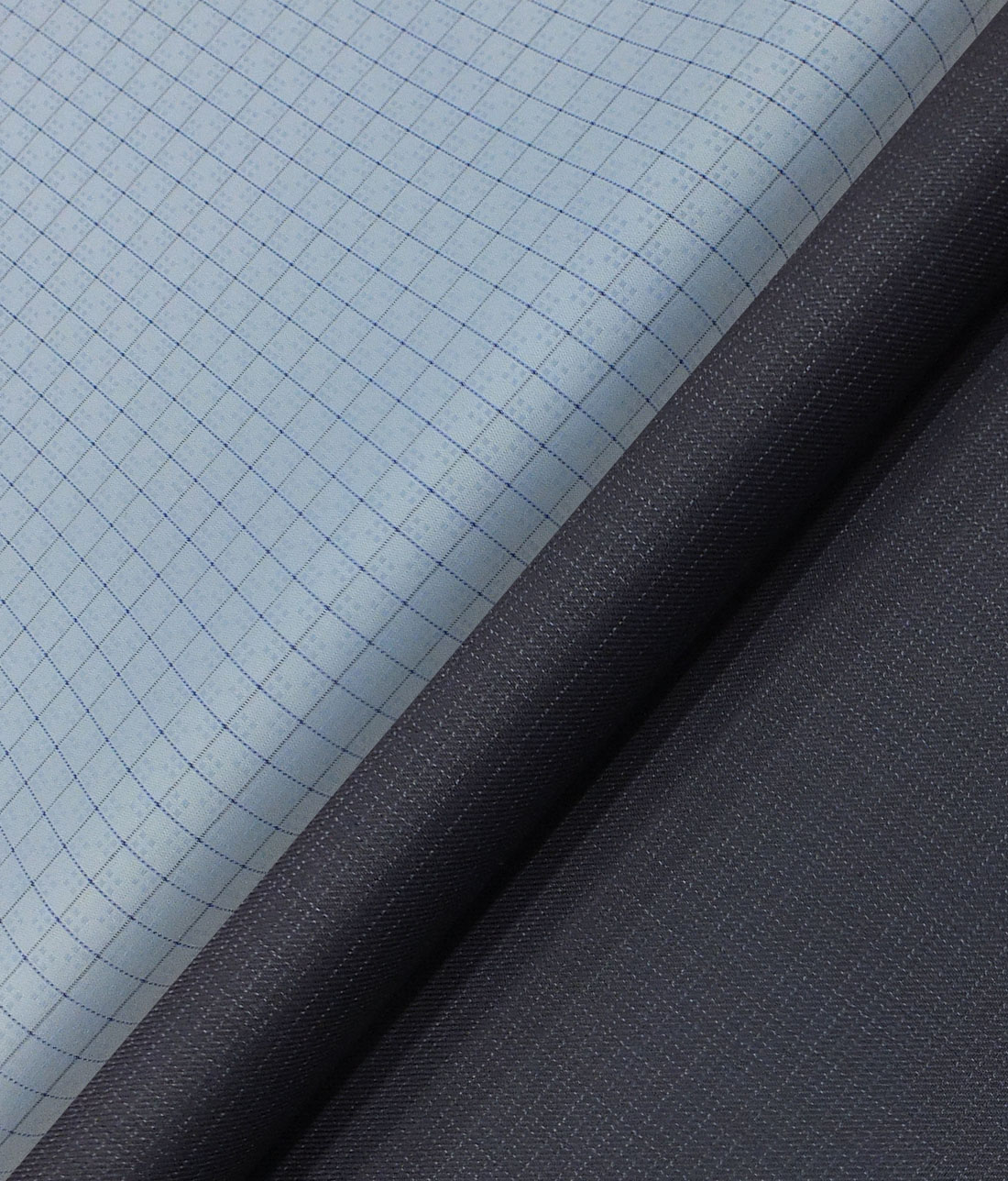 91959fbf4 Raymond Dark Navy Blue Self Design Trouser Fabric With Exquisite Sky Blue  Checks Shirt Fabric (Unstitched)