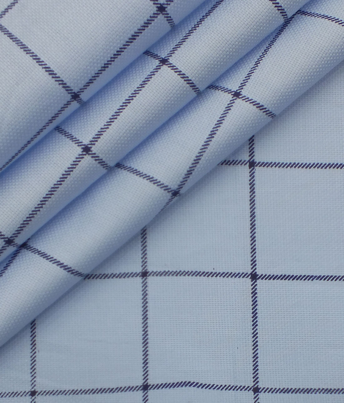 0365db4ea Raymond Dark Navy Blue Checks Trouser Fabric With Exquisite Sky Blue Broad  Checks Printed Shirt Fabric ...