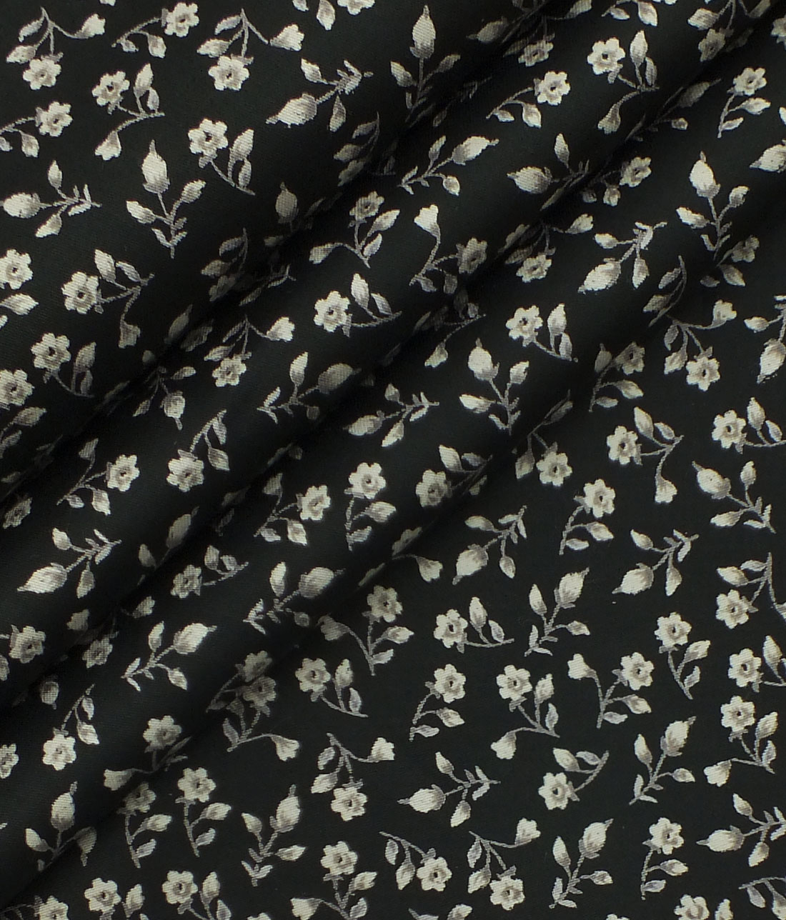 Exquisite Black 100 Pure Cotton Floral Print Shirt Fabric 240 M Casual Pattern