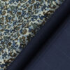 Reid & Taylor Dark Denim Blue Checks Trouser Fabric With Bombay Rayon White base Multicolor Printed Shirt Fabric (Unstitched)