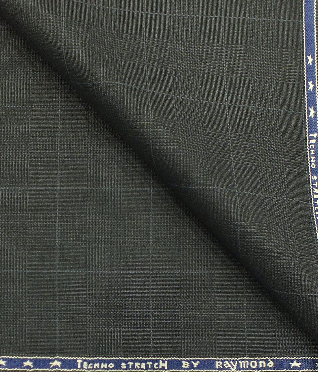 b560dd4a5 Raymond TechnoStretch Dark Grey Self Checks Poly Viscose Stretchable Trouser  or 3 Piece Suit Fabric (Unstitched ...