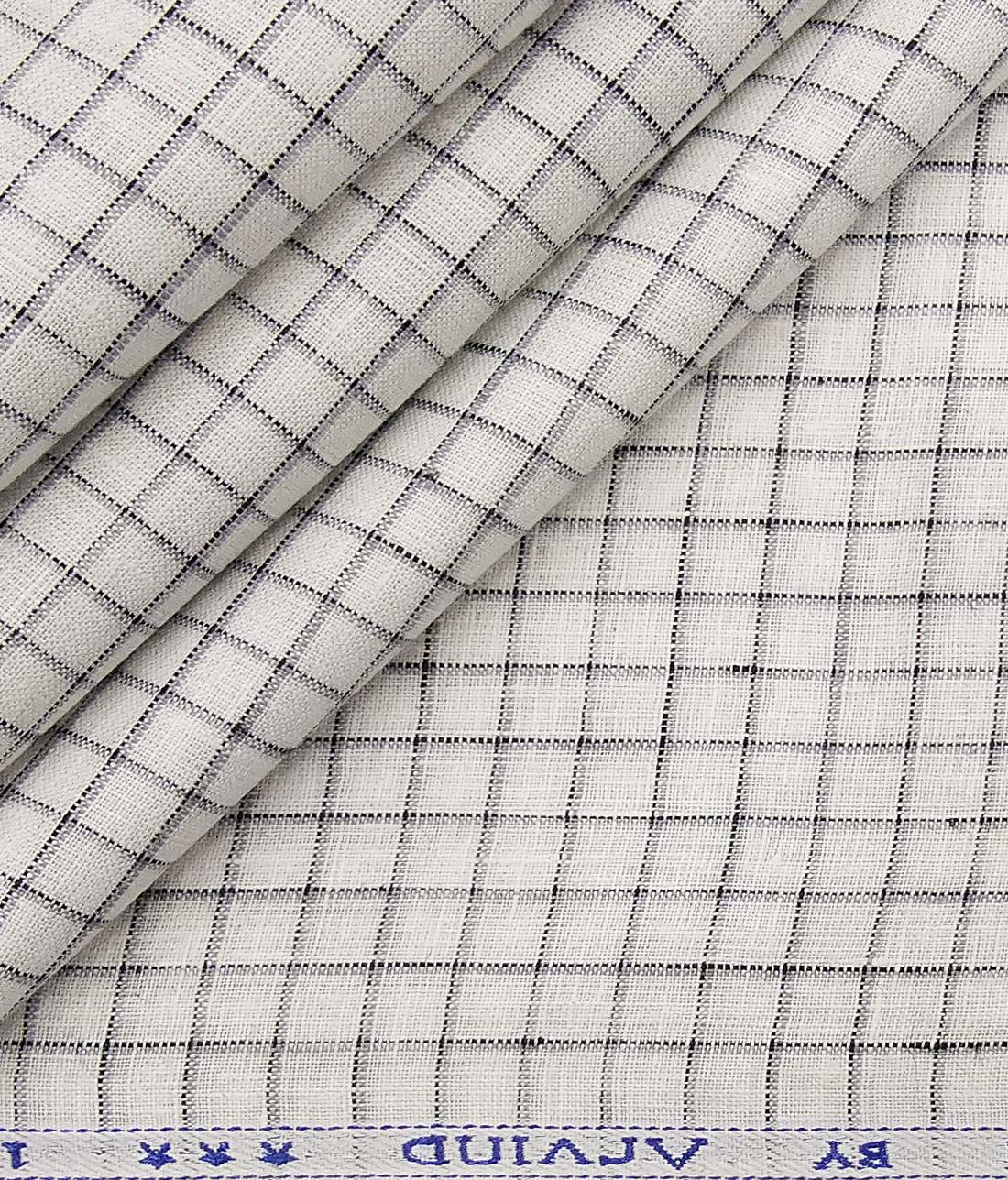 ebc7c68ae Arvind White 100% Irish Linen 60 LEA Grey Checks Shirt Fabric (1.60 M)