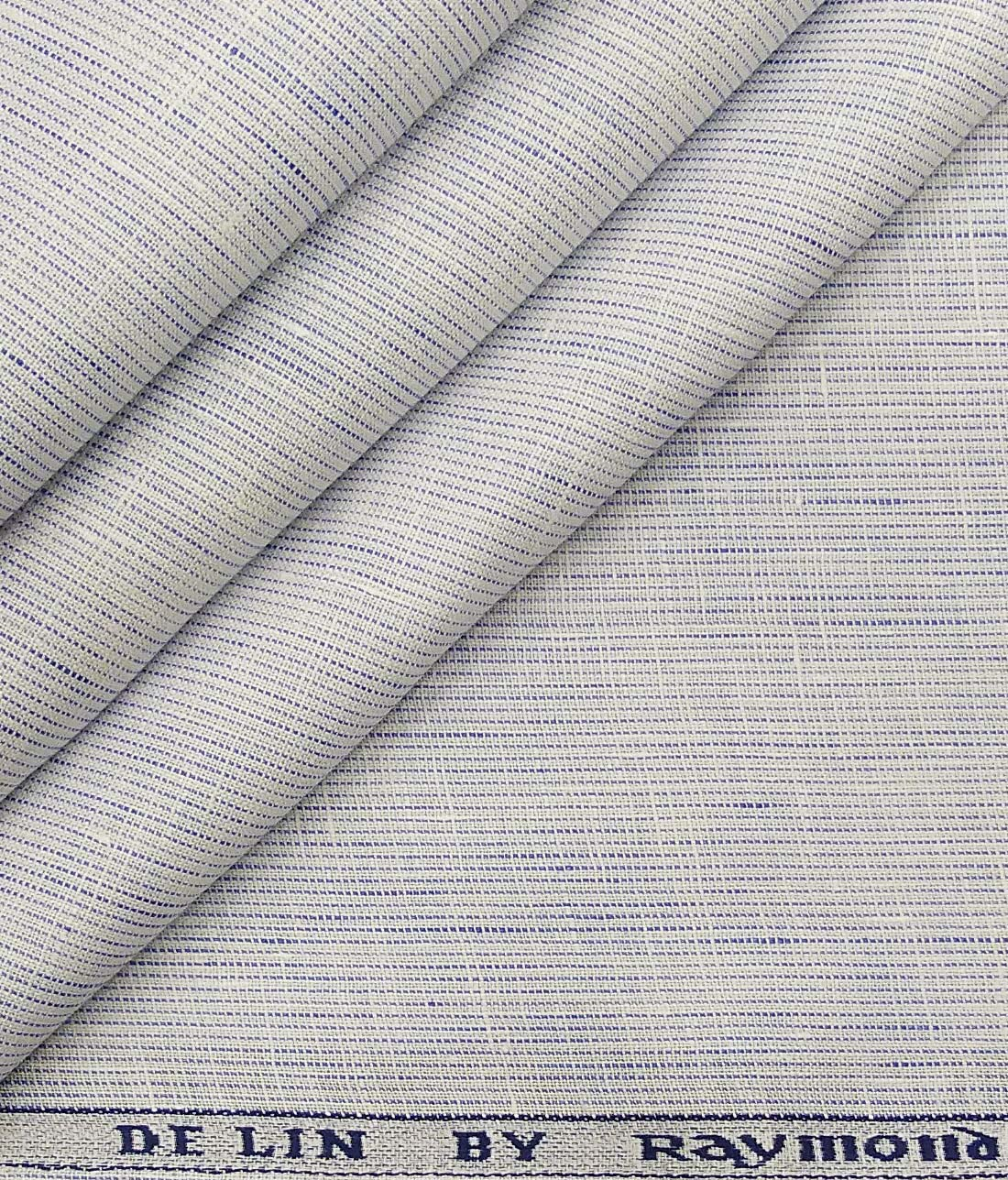 9ec5a93d5ecb Raymond White 100% Pure Linen 70 LEA Blue Striped Shirt Fabric (1.60 M)