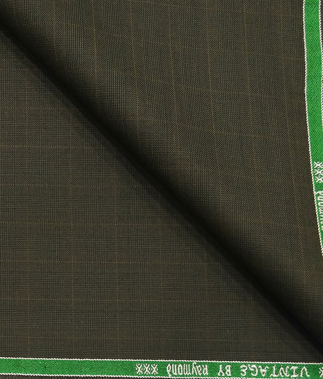 a50313948 Raymond Brownish Green Self Checks Poly Viscose Unstitched Fabric (1.25 Mtr)  For Trouser