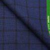 Raymond Royal Blue & Black 35% Merino Wool Broad Checks Unstitched Suiting Fabric