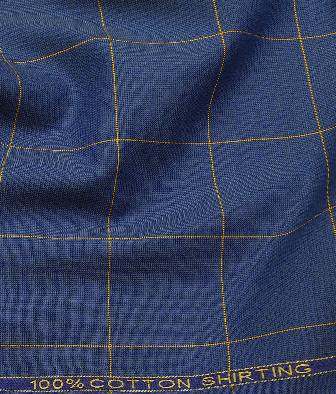 6ccc9c23 Birla Century Blue 100% Cotton Yellow Checks Shirt Fabric (1.60 M)