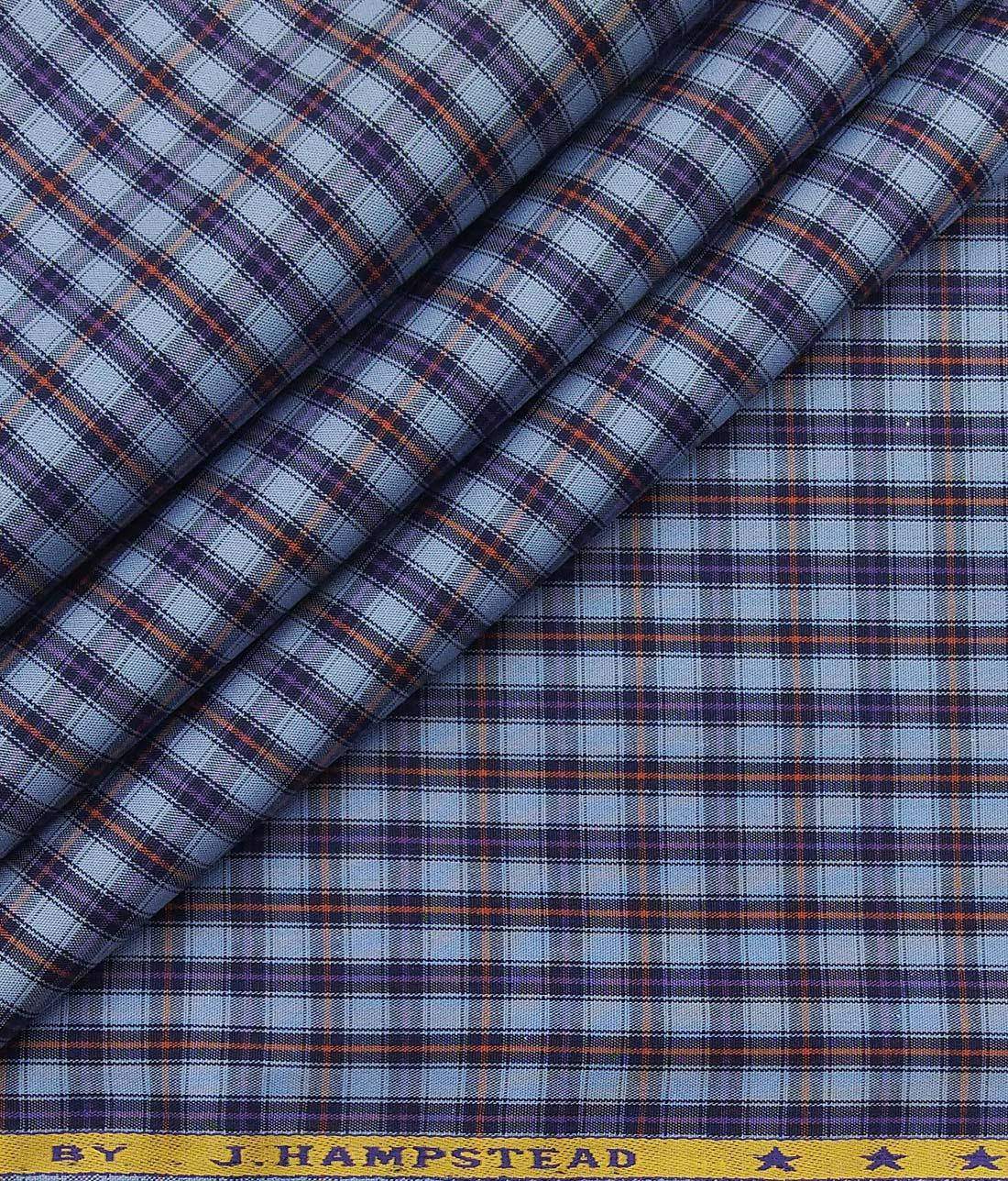 4e7cb950ddd J.Hampstead Italy by Siyaram's Light Blue 100% Giza Cotton Multicolor  Checks Shirt Fabric (1.60 M)