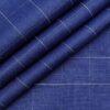 Linen Club Men's Genuine European Linen Royal Blue Broad Checks Unstitched Blazer Fabric (2 Meter)