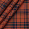 Monza Men's Brick Red 100% Superfine Cotton Broad Blue Checks Shirt Fabric (1.60 M)