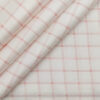 Raymond Men's White 100% Egyptian Giza Cotton Red Checks Shirting Fabric