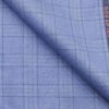 Raymond Sky Blue Polyester Viscose Self Broad Checks Unstitched Suiting Fabric - 3.75 Meter