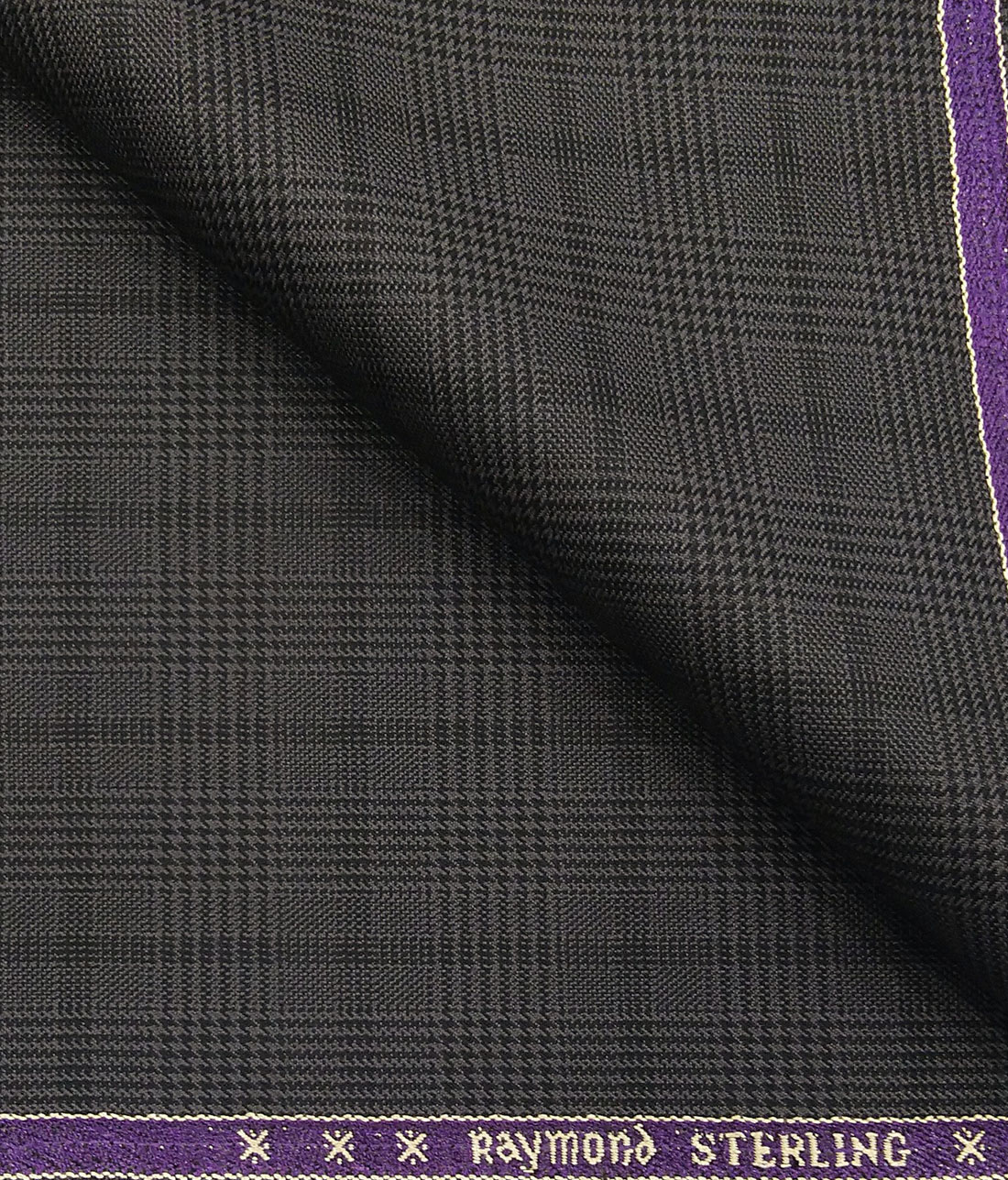 0e2abe1ea Raymond Dark Grey Polyester Viscose Self Black Structured Cum Checks  Unstitched Suiting Fabric - 3.75 Meter