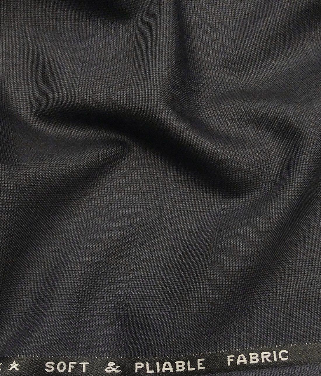 7b6eb176c Raymond Dark Shadow Grey Polyester Viscose Self Checks Unstitched Suiting  Fabric - 3.75 Meter