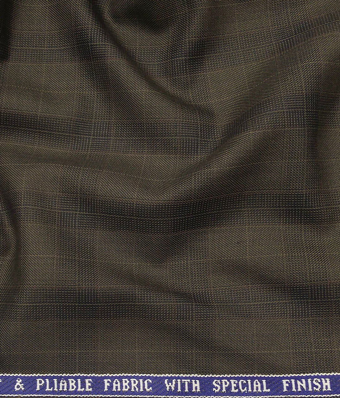 487df4c48 Raymond Carob Brown Polyester Viscose Self Broad Checks Unstitched Suiting  Fabric - 3.75 Meter