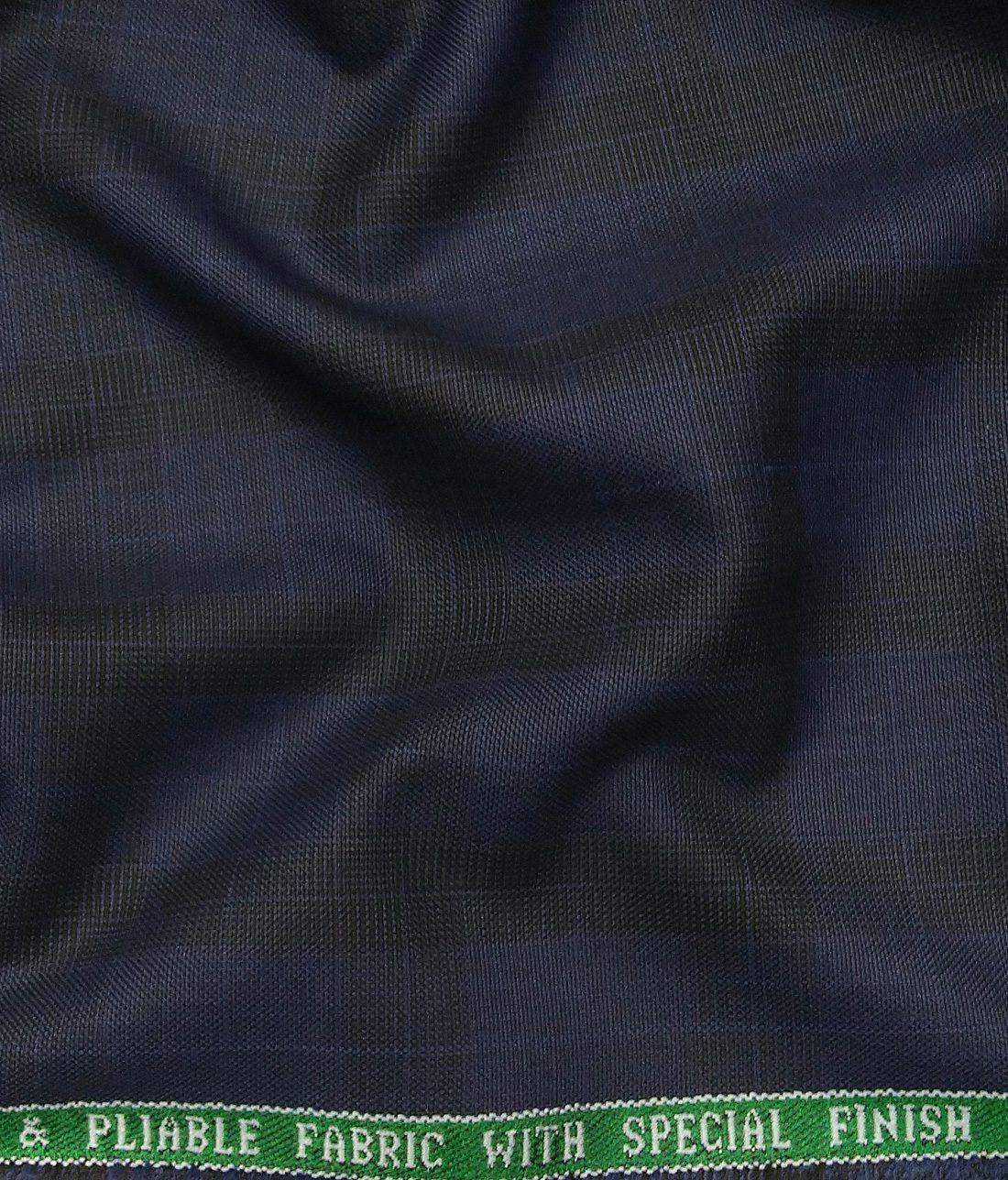 f21e26dc3 Raymond Dark Royal Blue Polyester Viscose Black Self Checks Unstitched  Suiting Fabric - 3.75 Meter
