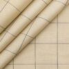 Monza Men's 100% Giza Cotton Blue Checks Oxford Weave Unstitched Shirt Fabric (Oat Beige
