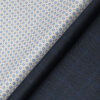 Raymond Men's Dark Firozi Blue Self Checks Poly Viscose Trouser Fabric With White Printed Cotton Shirt Fabric (Unstitched Combo)