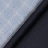 Siyaram's Men's Dark Navy Blue Self Checks Poly Viscose Trouser Fabric With Soktas Sky Blue Checks Cotton Shirt Fabric (Unstitched Combo)
