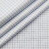 Soktas Men's 2 Ply 120's Egyptian Giza Cotton Blue Checks Unstitched Shirt Fabric (White