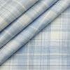 Soktas Men's Cotton Checks 1.60 Meter Unstitched Shirt Fabric (Sky Blue)