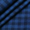 Cadini Men's Giza Cotton Checks 2 Meter Unstitched Shirting Fabric (Royal Blue)