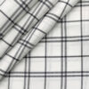 Cadini Men's Giza Cotton Checks 2 Meter Unstitched Shirting Fabric (White & Blue)