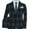 Don & Julio Men's Terry Rayon Checks 3.75 Meter Unstitched Suiting Fabric (Dark Blue)