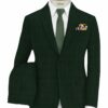 Don & Julio Men's Terry Rayon Checks 3.75 Meter Unstitched Suiting Fabric (Dark Pine Green)