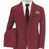 Italian Channel Men's Terry Rayon Structured 3.75 Meter Unstitched Suiting Fabric (Cherry Red)