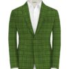 J.Hampstead Men's Terry Rayon Checks 3.75 Meter Unstitched Suiting Fabric (Light Green)