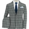 Marcellino Men's Terry Rayon Checks 3.75 Meter Unstitched Suiting Fabric (Grey)