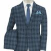 Vimal Men's Polyester Viscose Checks 3.75 Meter Unstitched Suiting Fabric (Sky Blue)