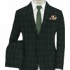 Vimal Men's Polyester Viscose Checks 3.75 Meter Unstitched Suiting Fabric (Green)