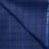 J.Hampstead Men's Wool Checks Super 120's 1.30 Meter Unstitched Trouser Fabric (Royal Blue)